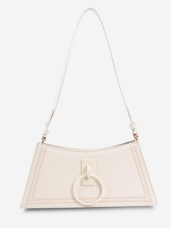 new O Ring Embroidery Shoulder Bag - WHITE