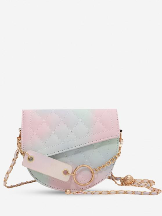 Quilted Asymmetric Chain Crossbody Bag - وردي فاتح