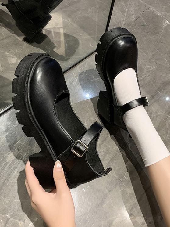 Retro Chunky Heel Bar Shoes - الجرافيت الأسود الاتحاد الأوروبي 37