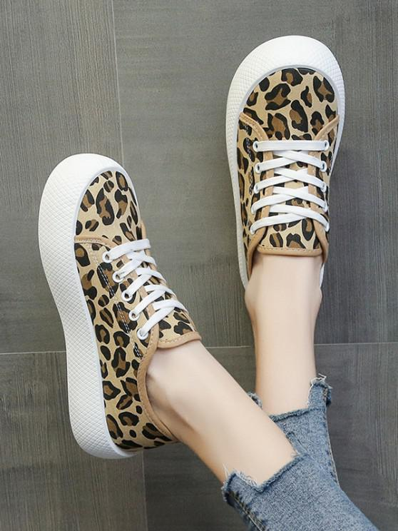 Plattform Schnüren Segeltuch Schuhe - Leopard EU 37