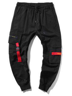 Applique Long Cargo Jogger Pants - Black Xs