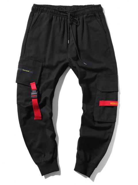 Jogger Pantalones de Cargo Largo con Cordón - Negro M Mobile
