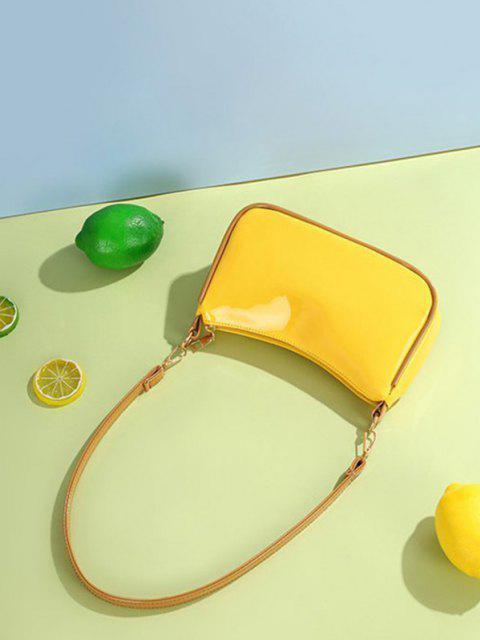 Minimalistische Patentleder-Schultertasche - Sonne Gelb  Mobile