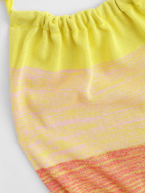 Halter Colorblock Knit Open Back Dress - Multi L Mobile
