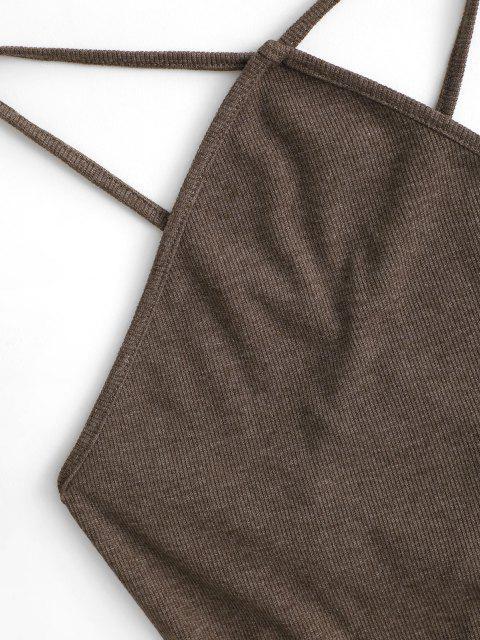 Kreuzes und Queres Bodycon Kleid mit Kalten Schultern - Tiefkaffee M Mobile
