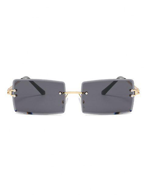 Slim Rechteckige Randlose Sonnenbrille aus Metall - Schwarz  Mobile