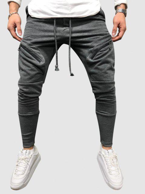 fashion Drawstring Zipper Pockets Sports Pants - GRAY XXL Mobile