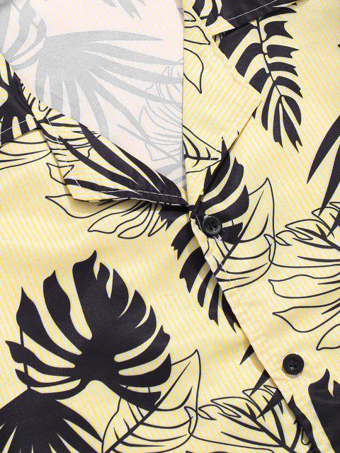 Tropische Blätter Streifendruck Fallschulter Hemd - Gelb M Mobile