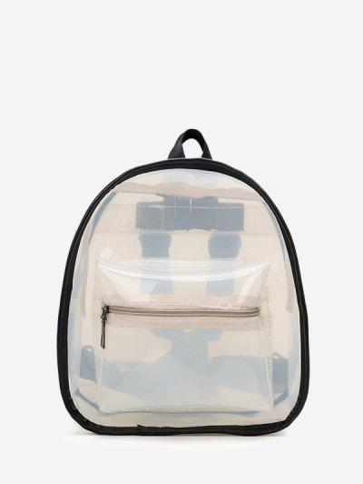 Contrast Trim Transparent Backpack - White