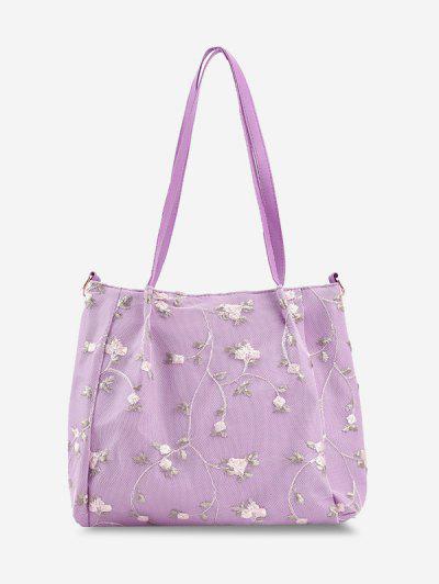 Lace Embroidery Flower Shoulder Bag - Mauve