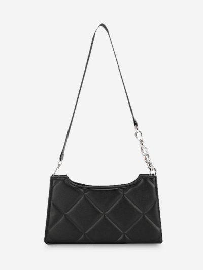 Quilted Lozenge Half Chain Shoulder Bag - Black