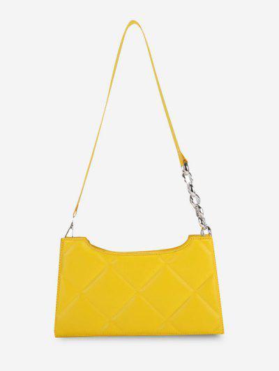 Quilted Lozenge Half Chain Shoulder Bag - Sun Yellow