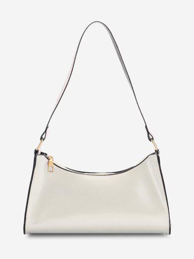 Brief Patent Leather Shoulder Bag - White