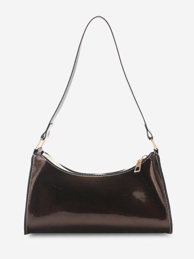 Brief Patent Leather Shoulder Bag - Deep Brown