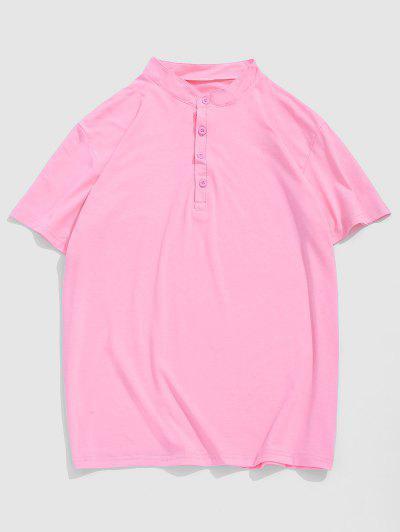 Short Sleeve Plain Henley T-shirt - Light Pink Xl