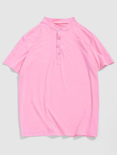 T-Shirt In Tinta Unita Con Maniche Corte - Rosa Chiaro L