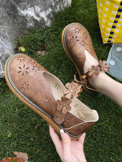 Retro Flower Hollow Out Bar Shoes - Brown Eu 37