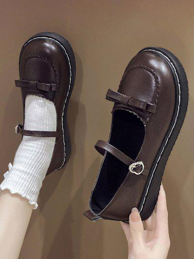 Round Toe Bowknot Heart Buckle Strap Faux Leather Shoes - Deep Brown Eu 37