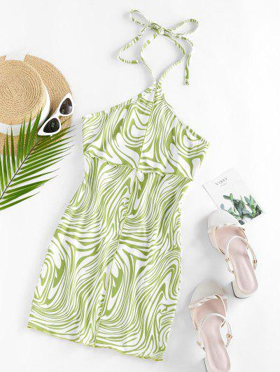 ZAFUL Liquid Marble Print Topstitching Halter Slinky Dress - Green S