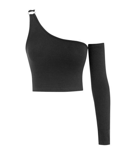 One Shoulder Rib-knit Rings Crop Top With Detachable Sleeve - Black M