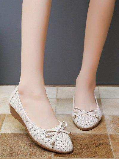 Almond Toe Bowknot Slip-On Low Wedge Heel Shoes - Warm White Eu 40
