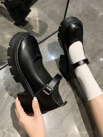 Zapatos Barra Tacón Grueso Retro - Grafito Negro Eu 38
