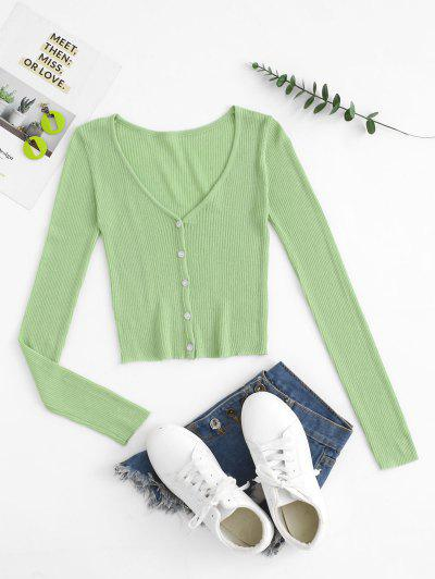 Button Up Cropped Summer Cardigan - Green S