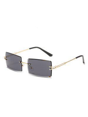 zaful Slim Rectangular Frame Rimless Metal Sunglasses