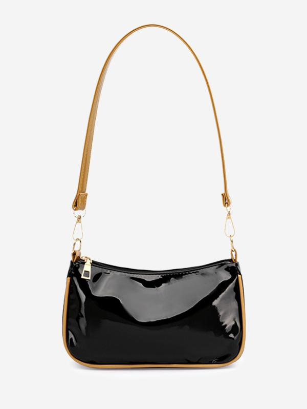 Minimalist Patent Leather Shoulder Bag