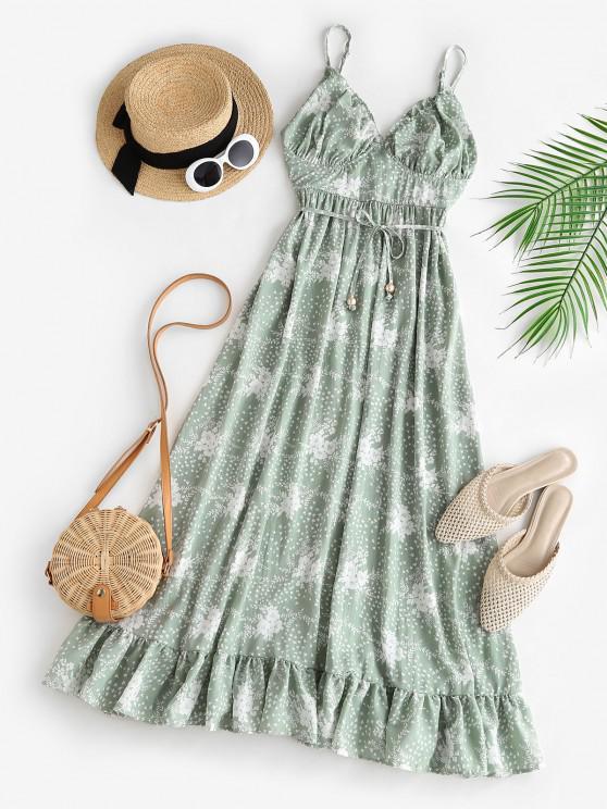 unique Spaghetti Strap Floral Ruffled Maxi Bustier Dress - LIGHT GREEN M