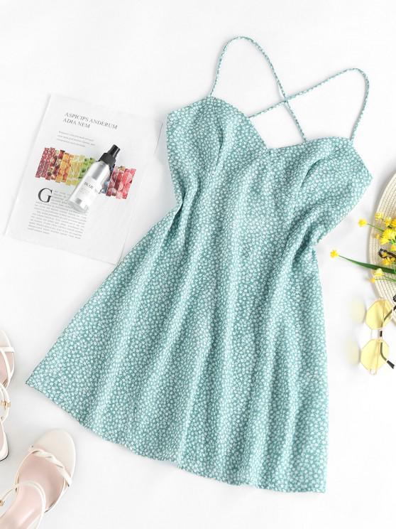 women ZAFUL Ditsy Print Criss Cross Open Back Dress - LIGHT GREEN M