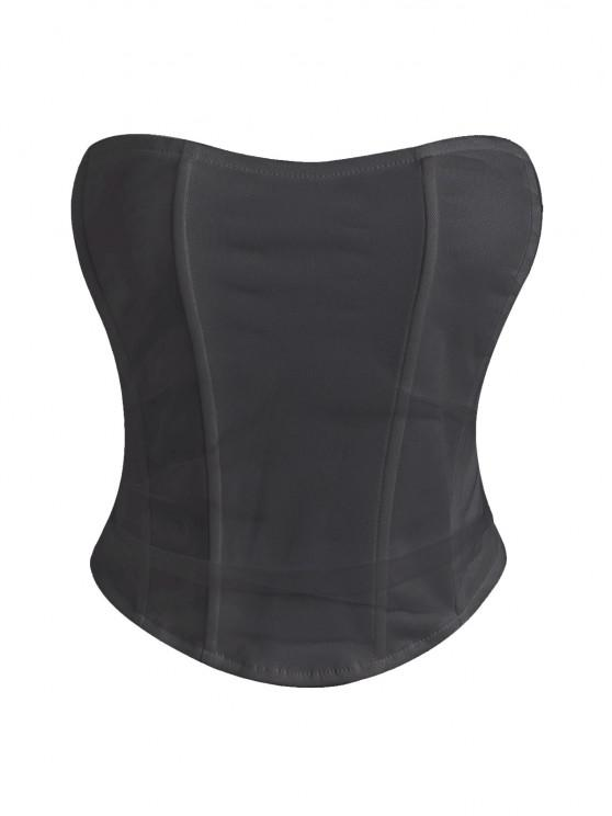 outfits Strapless Mesh Overlay Corset Top - BLACK M