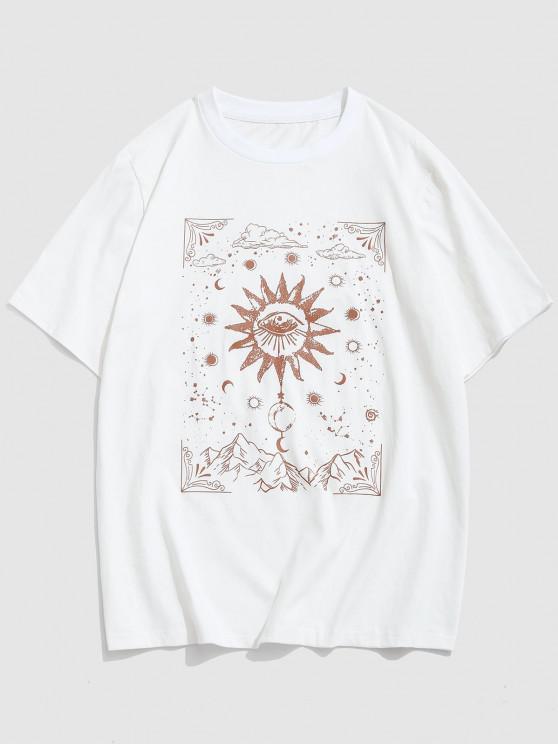 Celestial Sun Eye Moon Print Short Sleeve T-shirt - أبيض S