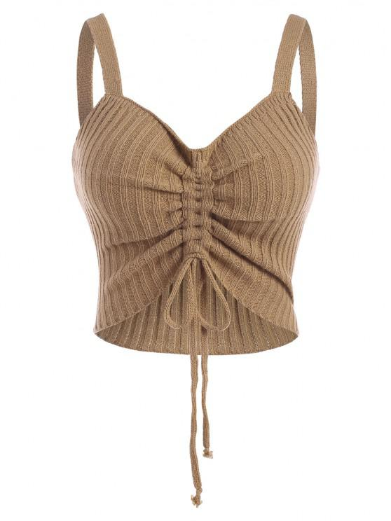 unique Cinched Crop Knitted Tank Top - LIGHT COFFEE S