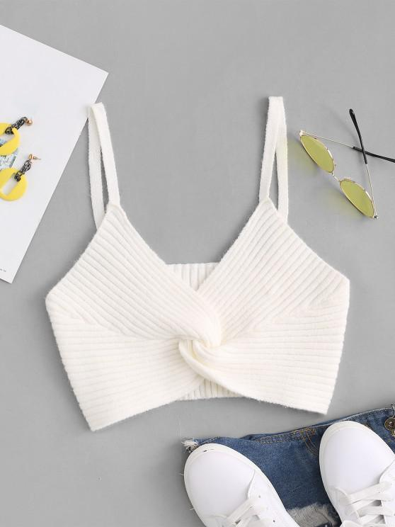 shop Twisted Wide Rib Knit Cami Top - WHITE S