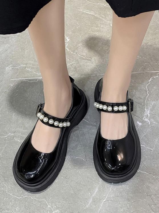 Faux Pearl Buckle Strap Heeled Faux Leather Shoes - أسود الاتحاد الأوروبي 37
