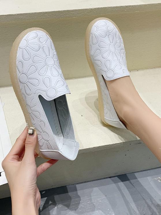 Floral Embroidery Flat Slip-On Shoes - أبيض الاتحاد الأوروبي 37
