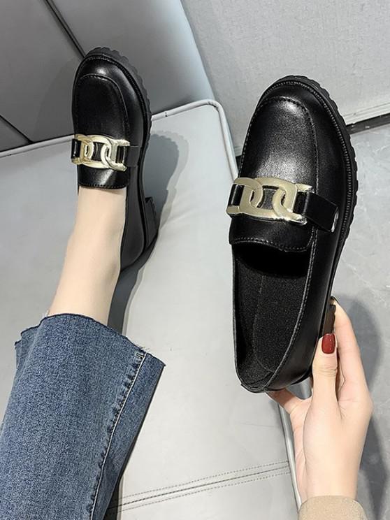 Chain Embellished Heeled Slip-On Shoes - الجرافيت الأسود الاتحاد الأوروبي 37