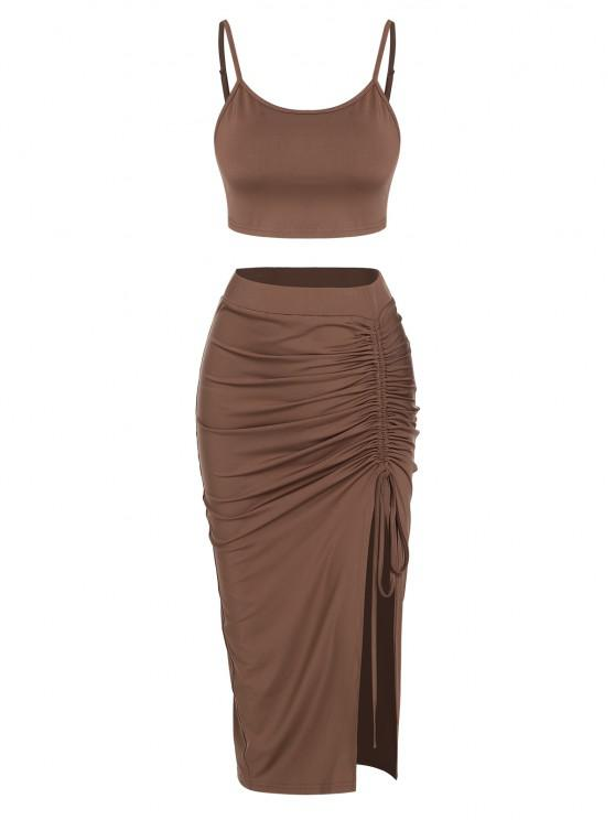 shops ZAFUL Cinched Split Ruched Two Piece Skirt Set - DEEP COFFEE S
