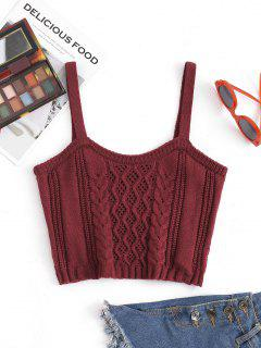 Cable Pointelle Knit Crop Tank Top - Deep Red S