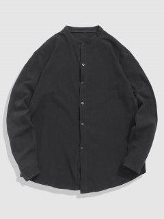 Long Sleeve Button Up Plain Shirt - Black S