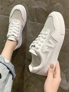 Letter Pattern Mesh Flat Sneakers - White Eu 40
