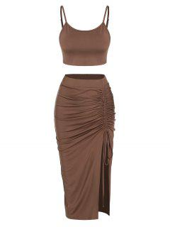 ZAFUL Cinched Split Ruched Two Piece Skirt Set - Deep Coffee S
