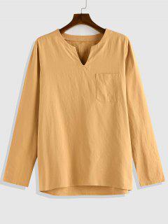 ZAFUL Plain Pocket Patch V-neck Long Sleeve Shirt - Coffee L
