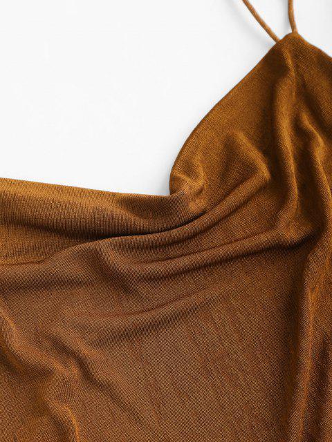 Ärmelloses Strickkleid mit Kapuze mit Ausschnitt - Kaffee M Mobile