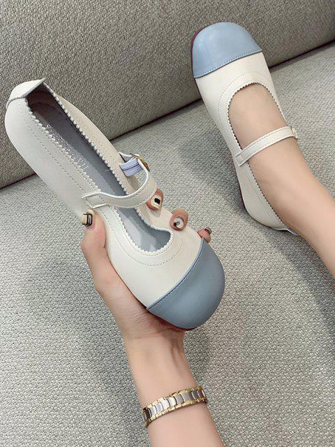 Farbblock Flache Schuhe mit Schnallenriemen aus Kunstleder - Himmelblau EU 37 Mobile