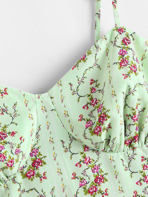 ZAFUL Top de Peplum Floral de Talla Grande - Verde claro 4XL Mobile