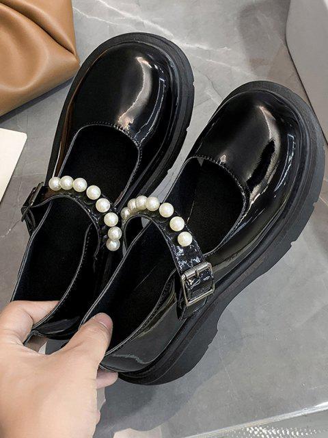 Künstliche Perle Schnalle Absatz Kunstleder Schuhe - Schwarz EU 37 Mobile