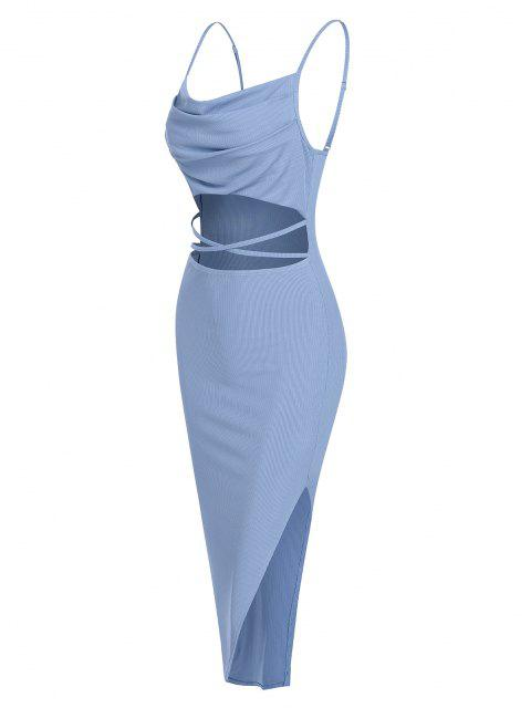 fancy ZAFUL Ribbed Midriff Flossing Split Cami Dress - LIGHT BLUE M Mobile