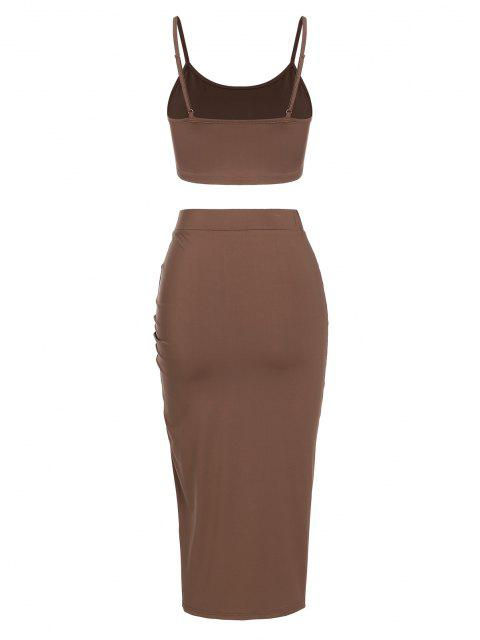 shops ZAFUL Cinched Split Ruched Two Piece Skirt Set - DEEP COFFEE S Mobile